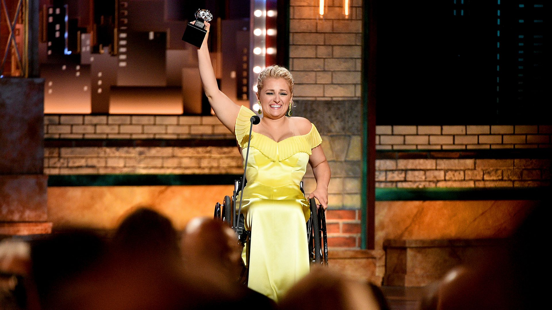 Ali Stroker accepts the Best Performance by an Actress in a Featured Role  during the 2019 Tony Awards at Radio City Music Hall on June 9, 2019 in New York City.