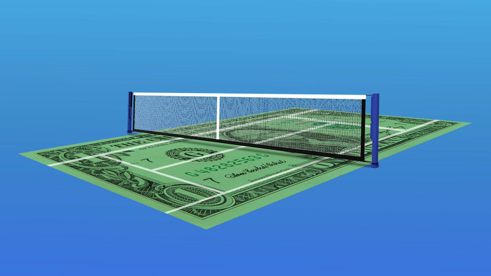 Illustration of tennis court made of money