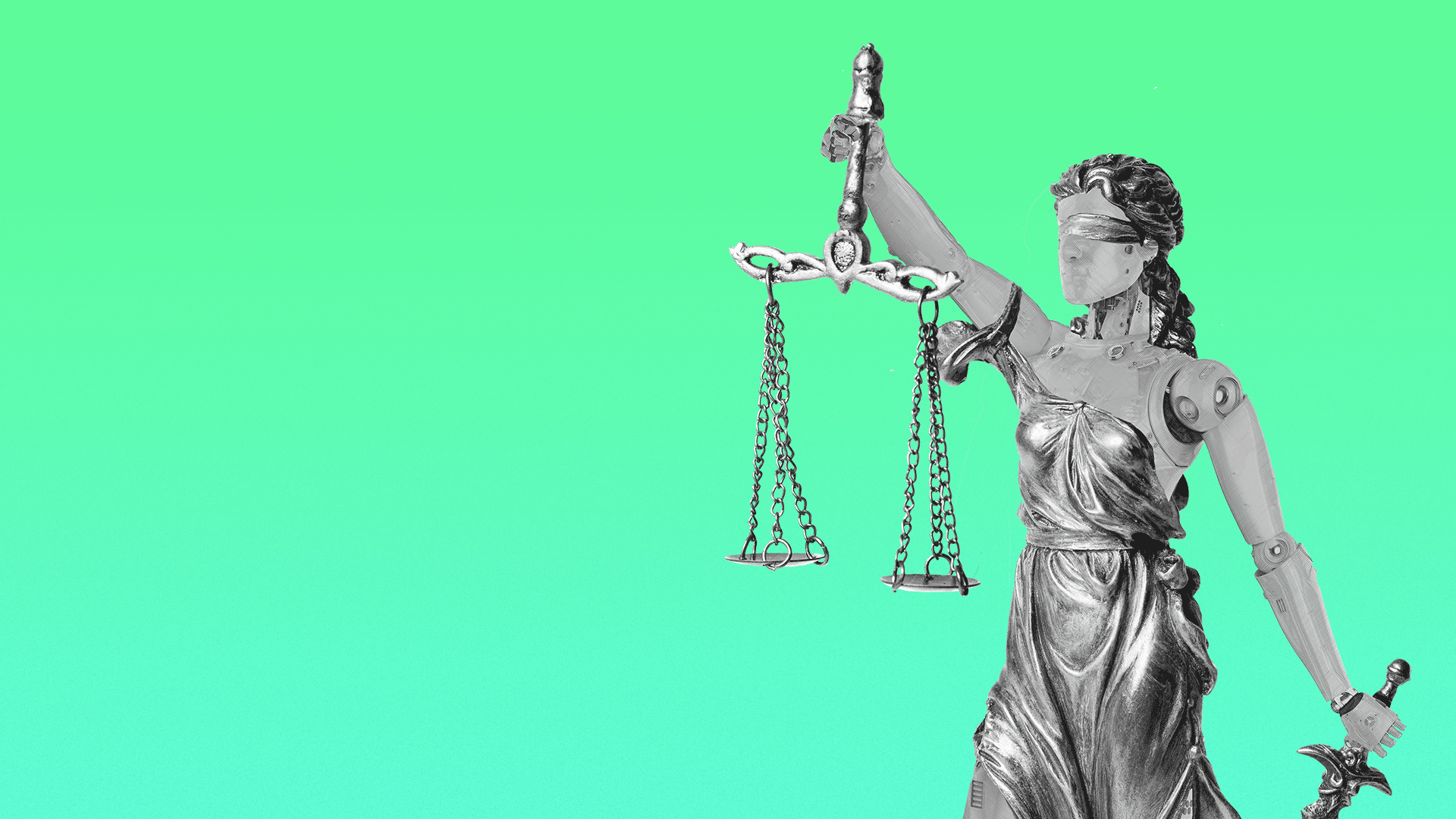 Illustration of Lady Justice as a robot.
