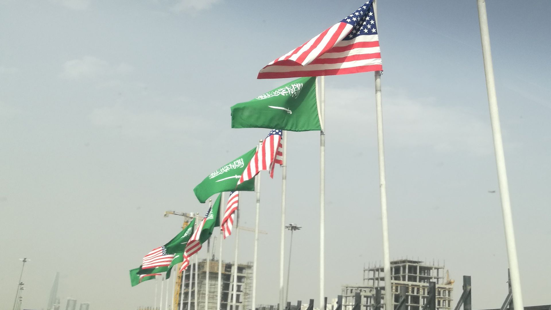 Flags of both United States and Saudi Arabia are raised ahead of U.S President Donald Trump's visit to Saudi Arabia.