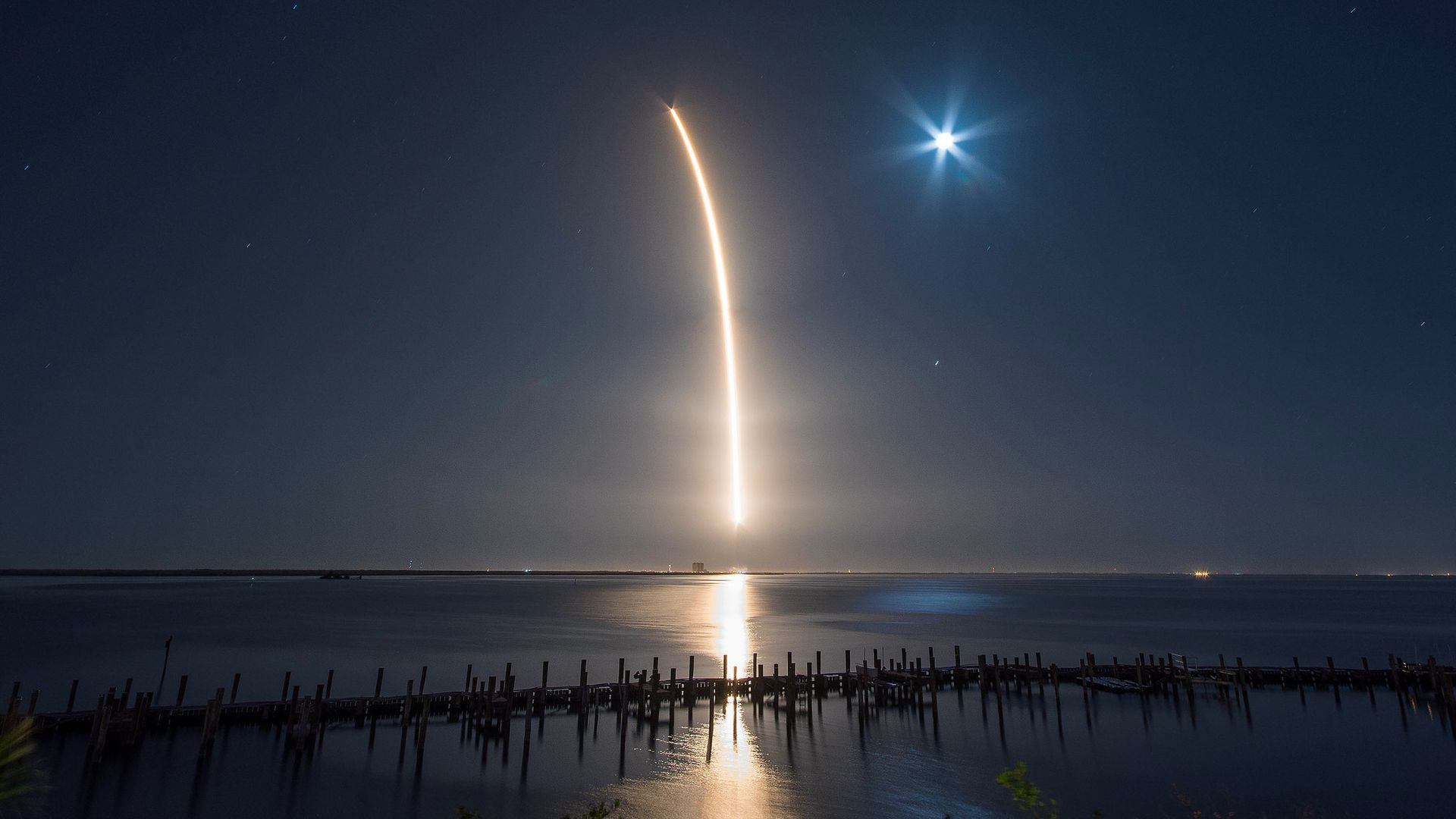 SpaceX nighttime launch on March 6, 2018.