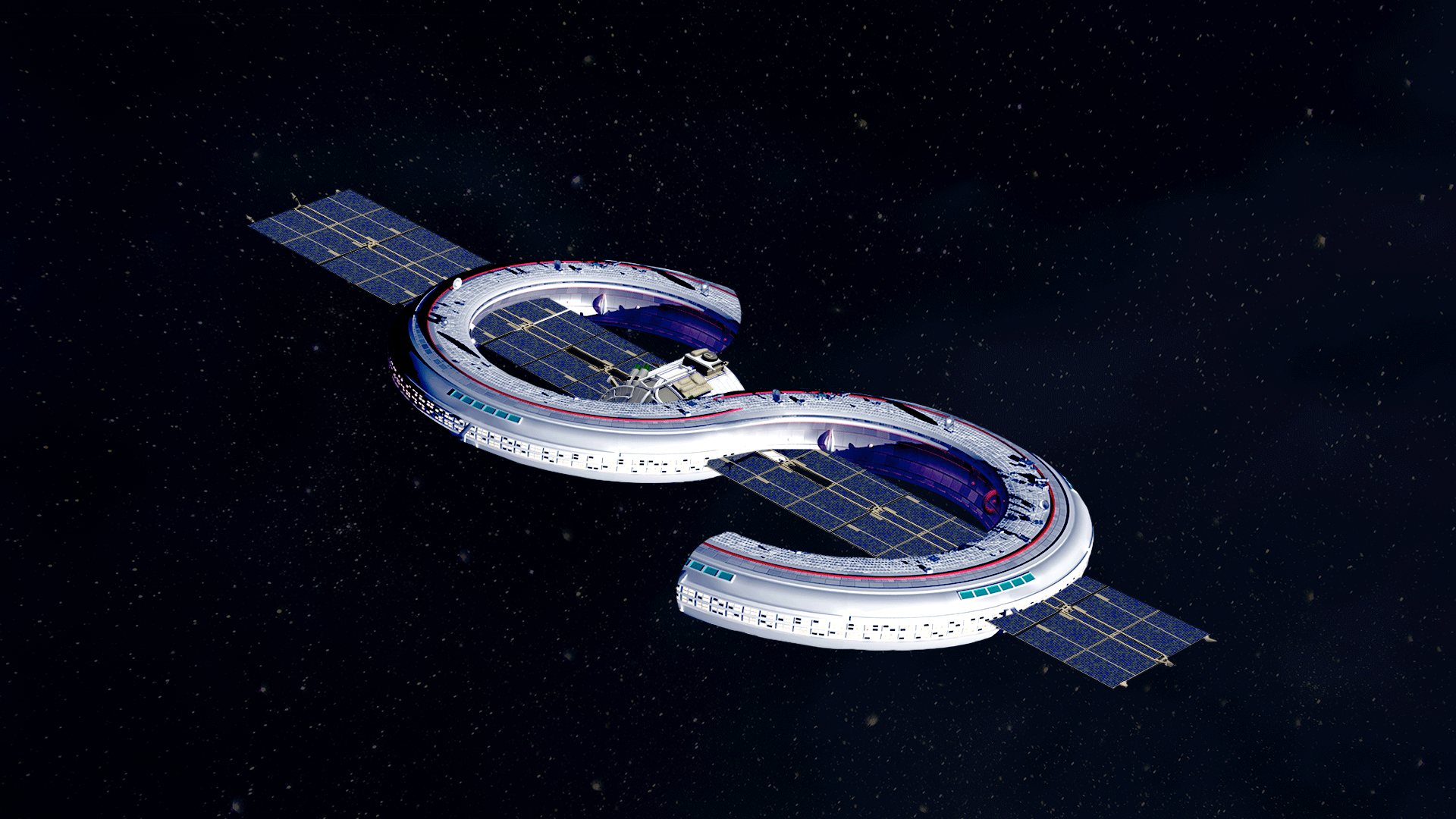 Illustration of a space station in the shape of a dollar bill sign.