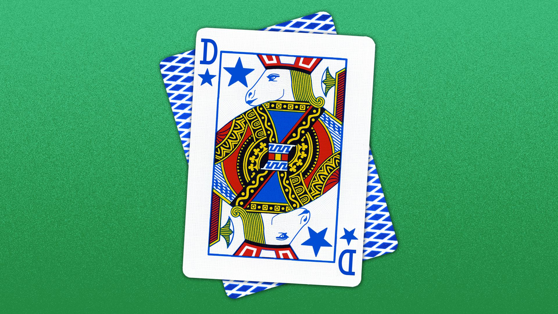 """Illustration of a face playing card with a donkey as the character. The letter """"D"""" is in place of the card number and a star is in place of the suite."""
