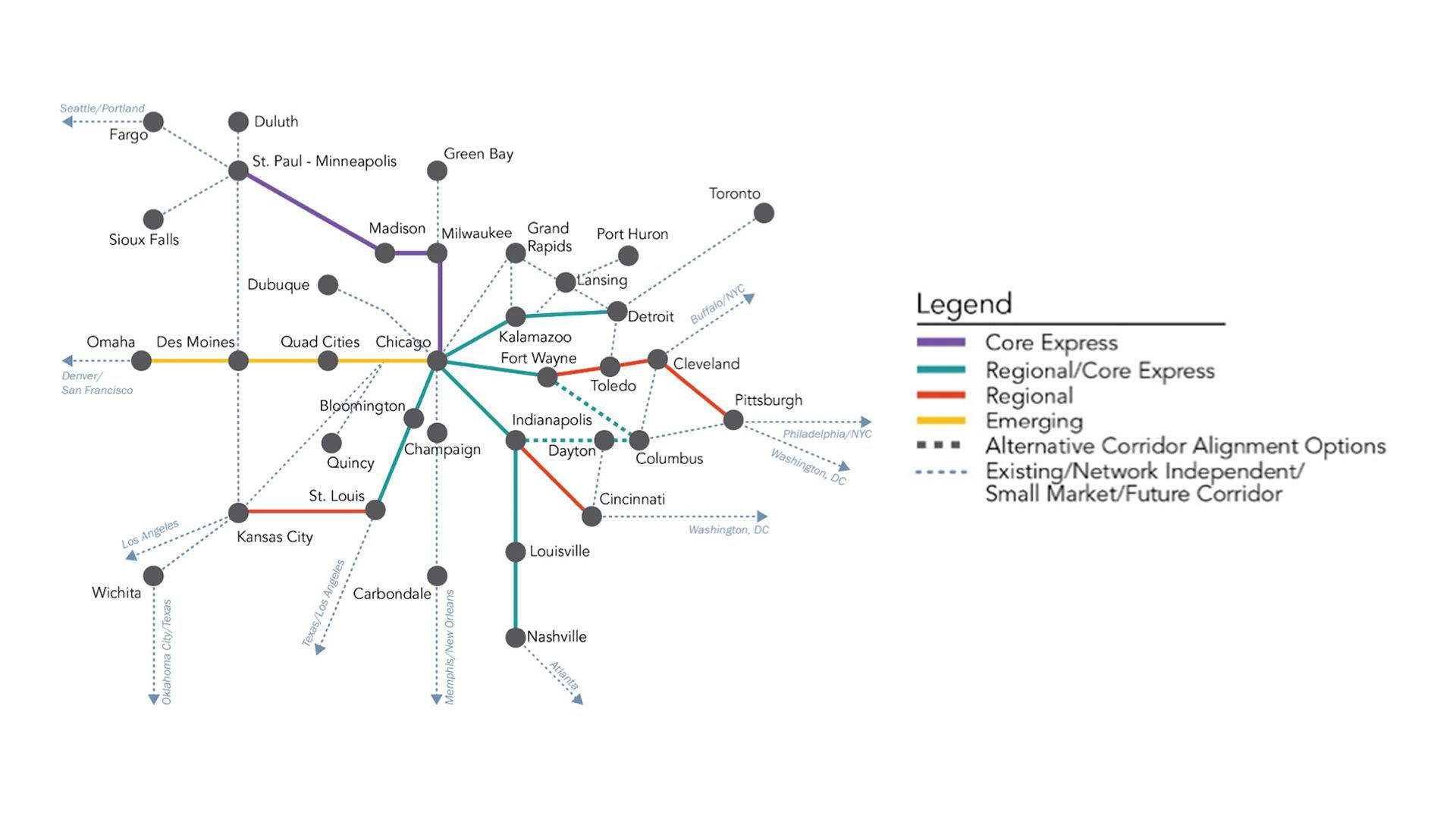 A route map for the Federal Railroad Administration's newly released Midwest Regional Rail Plan.