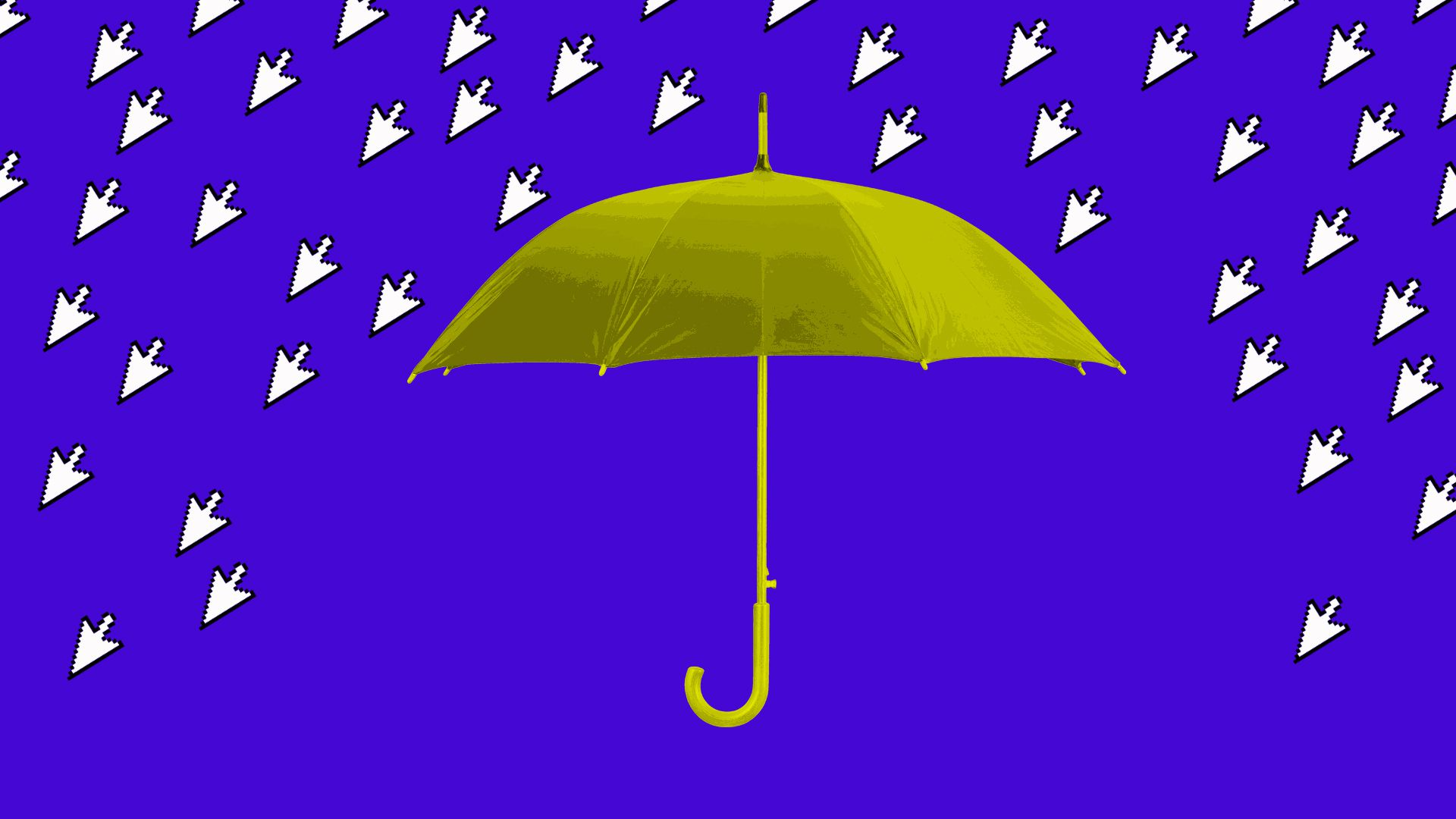 Illustration shows umbrella blocking out mouse cursors as rain drops before blue background.