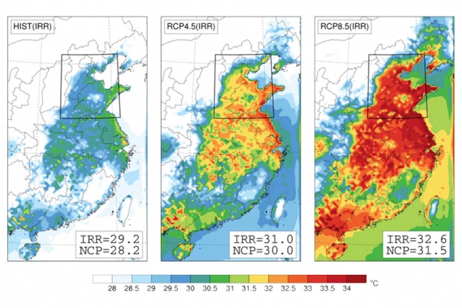 Computer model map projections for heat waves under global warming scenarios in the North China Plain.