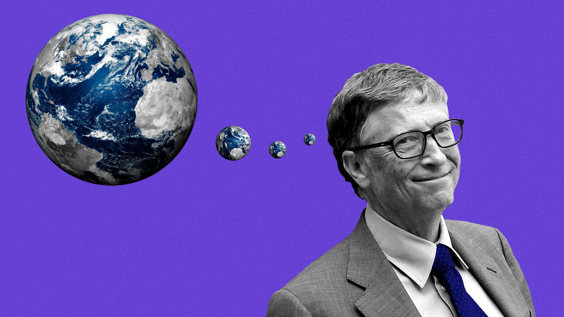 An illustration of Bill Gates with thought bubbles that are earths