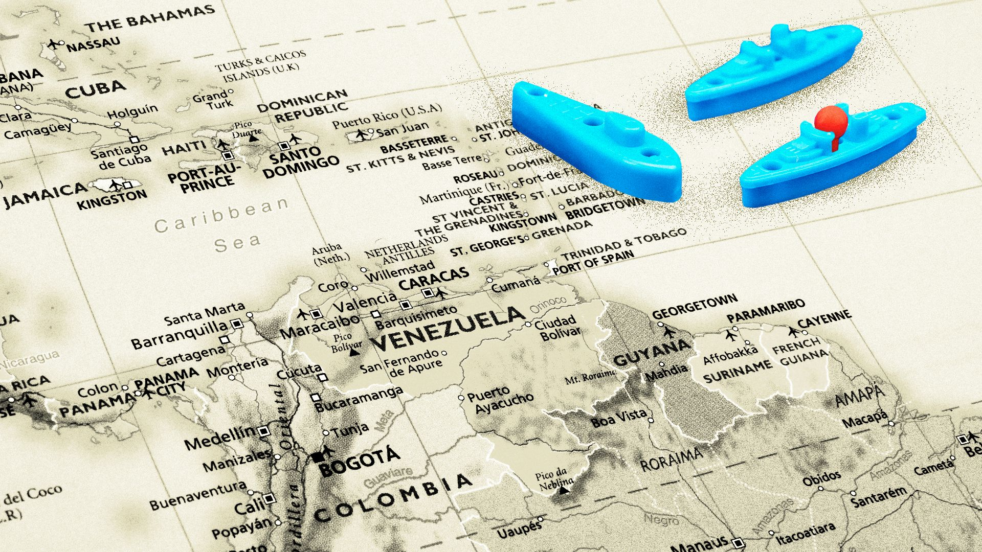 Illustration of a map with Battle Ship game toy pieces placed near Venezuela.