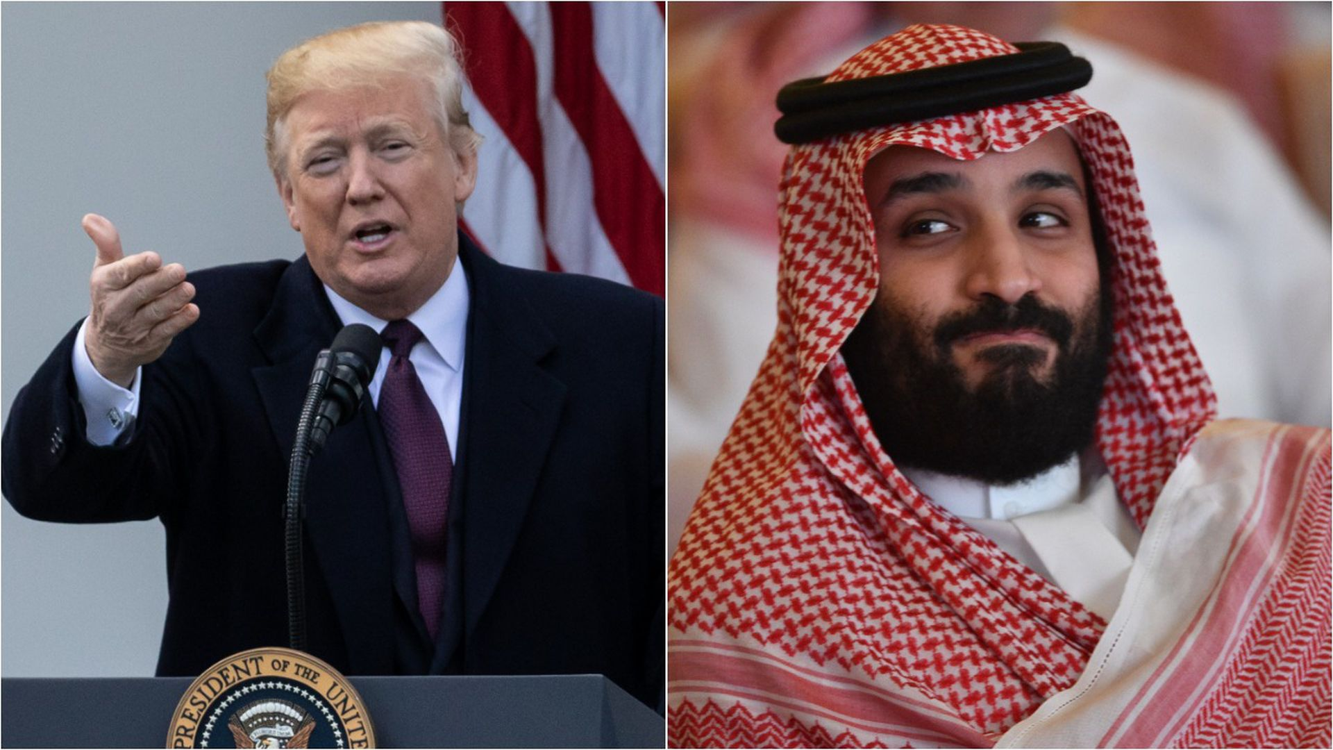 A split-screen image of President Trump and Mohammed bin Salman.