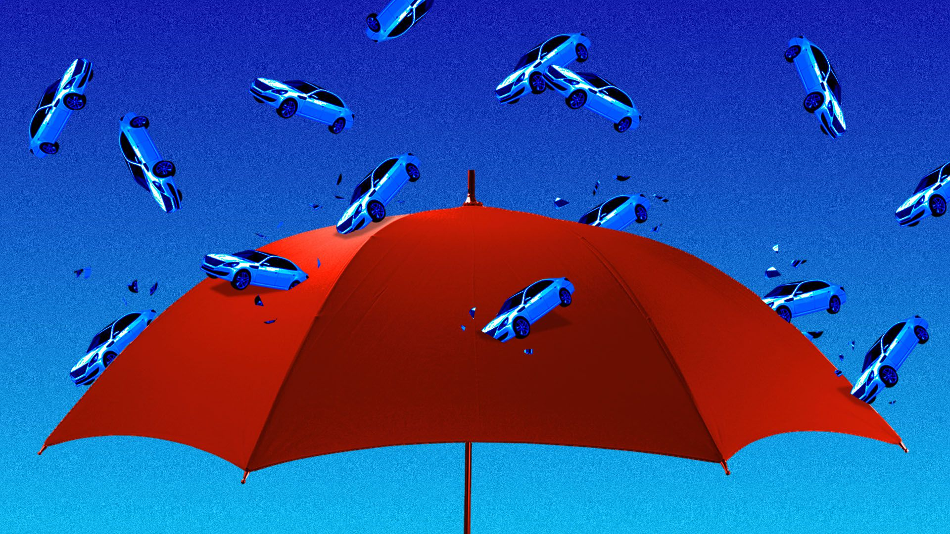 Illustration of car crashing against a giant umbrella