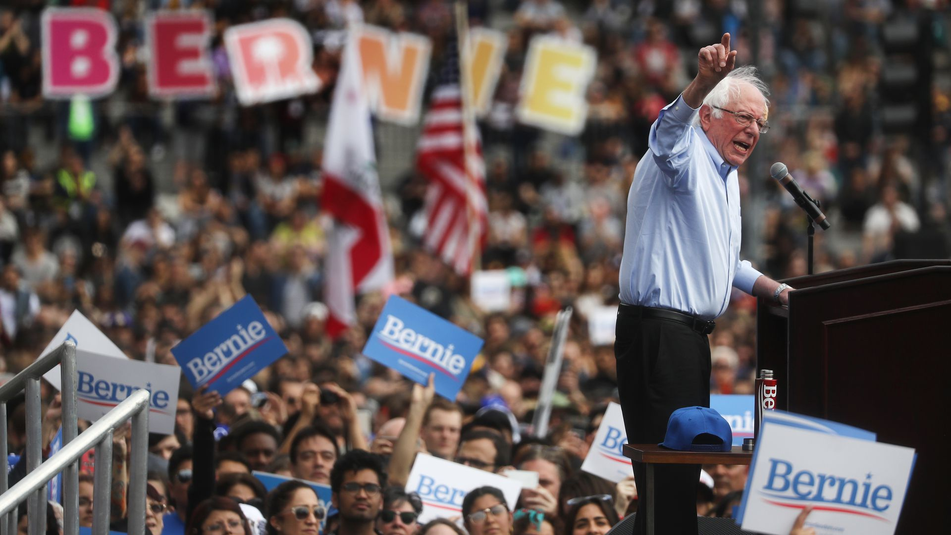 Bernie Sanders paid a visit to a Los Angeles mosque while campaigning in California Saturday.