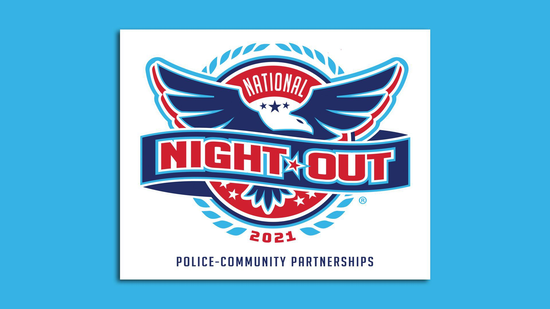 """A blue-and-red logo for National Night Out 2021, with an eagle and the phrase """"police-community partnerships."""""""