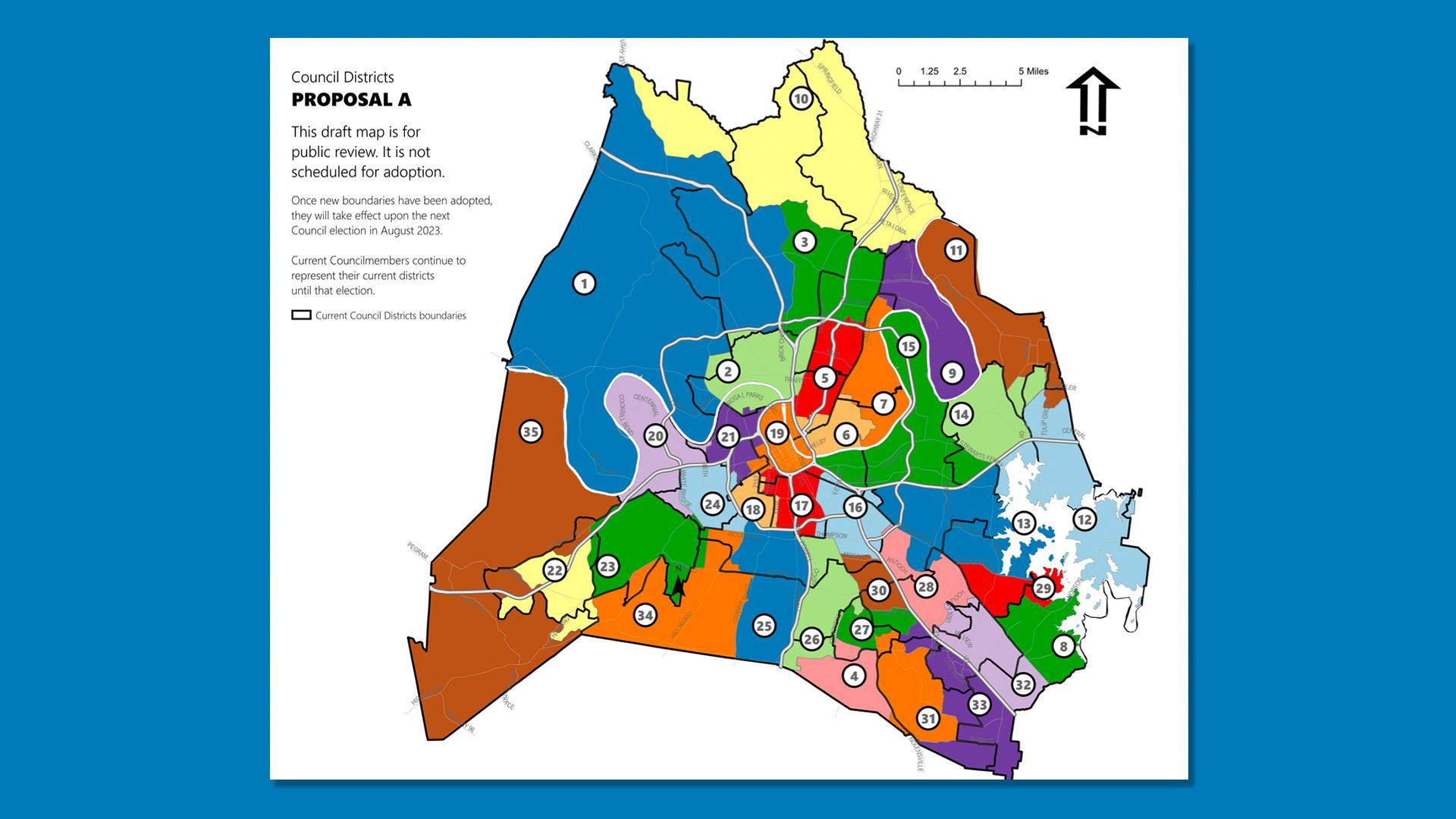 A draft map of the proposed districts of Nashville's Metro Council.