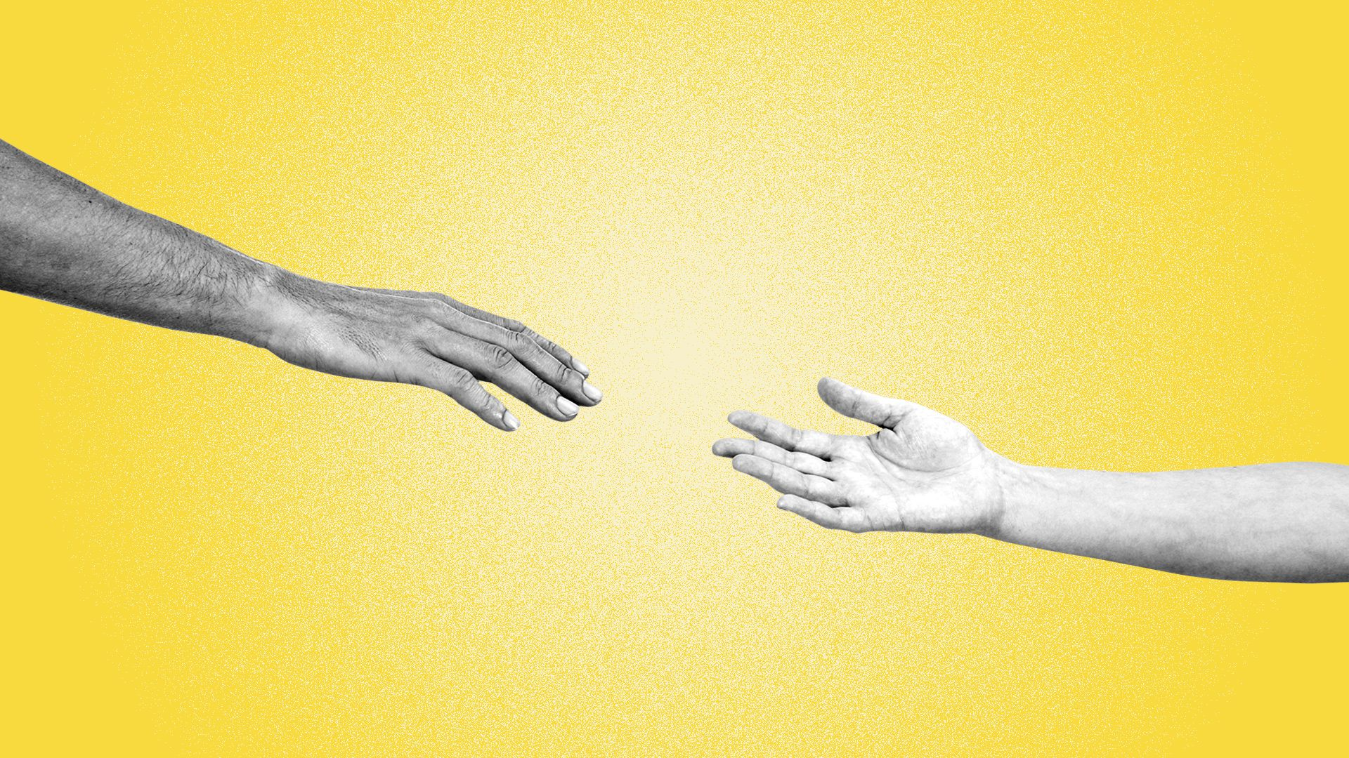Illustration of two hands reaching out for each other.