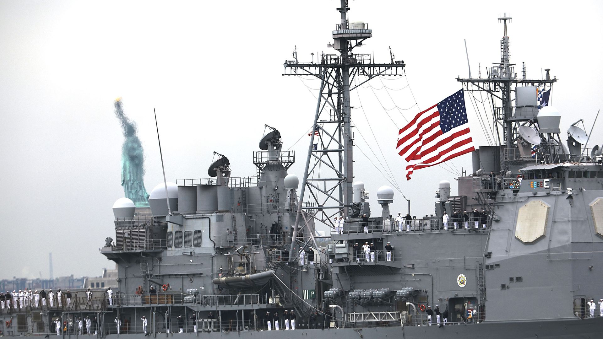 The USS San Jacinto on the opening day of Fleet Week in 2017.