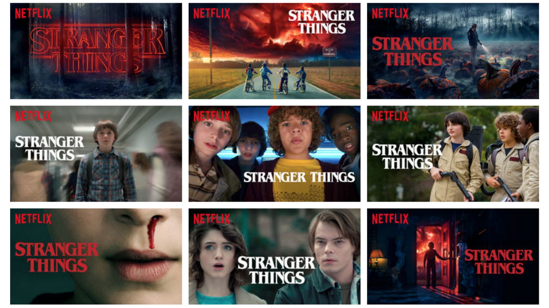 Stranger things compilation. Several pictures of the main characters.