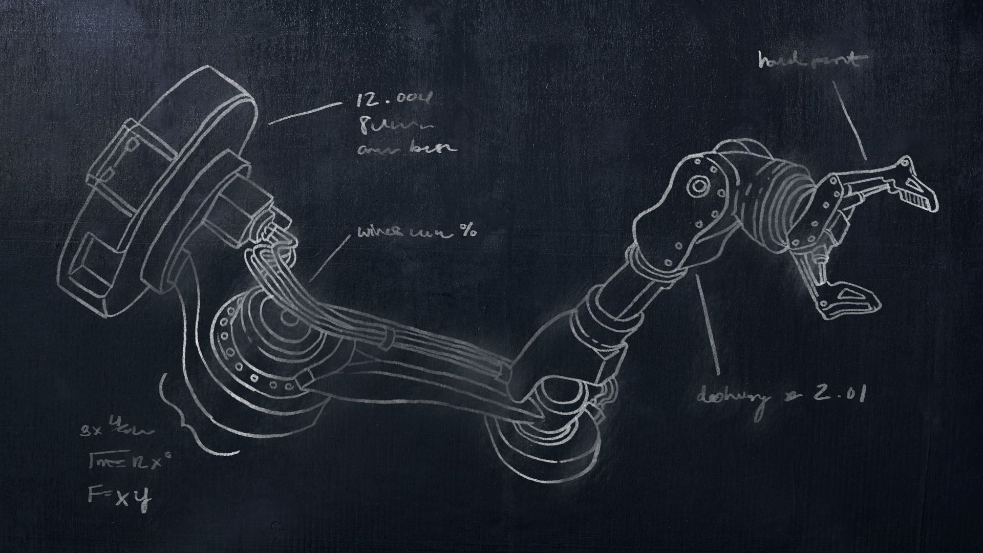 Illustration of a robot hand diagram on a chalkboard