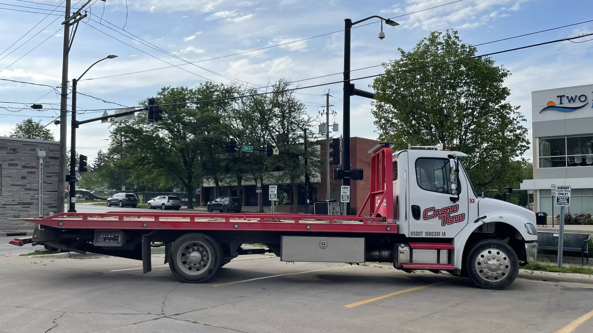 A Crow Tow truck in a Subway parking lot off Ingersoll Ave in Des Moines, Iowa.