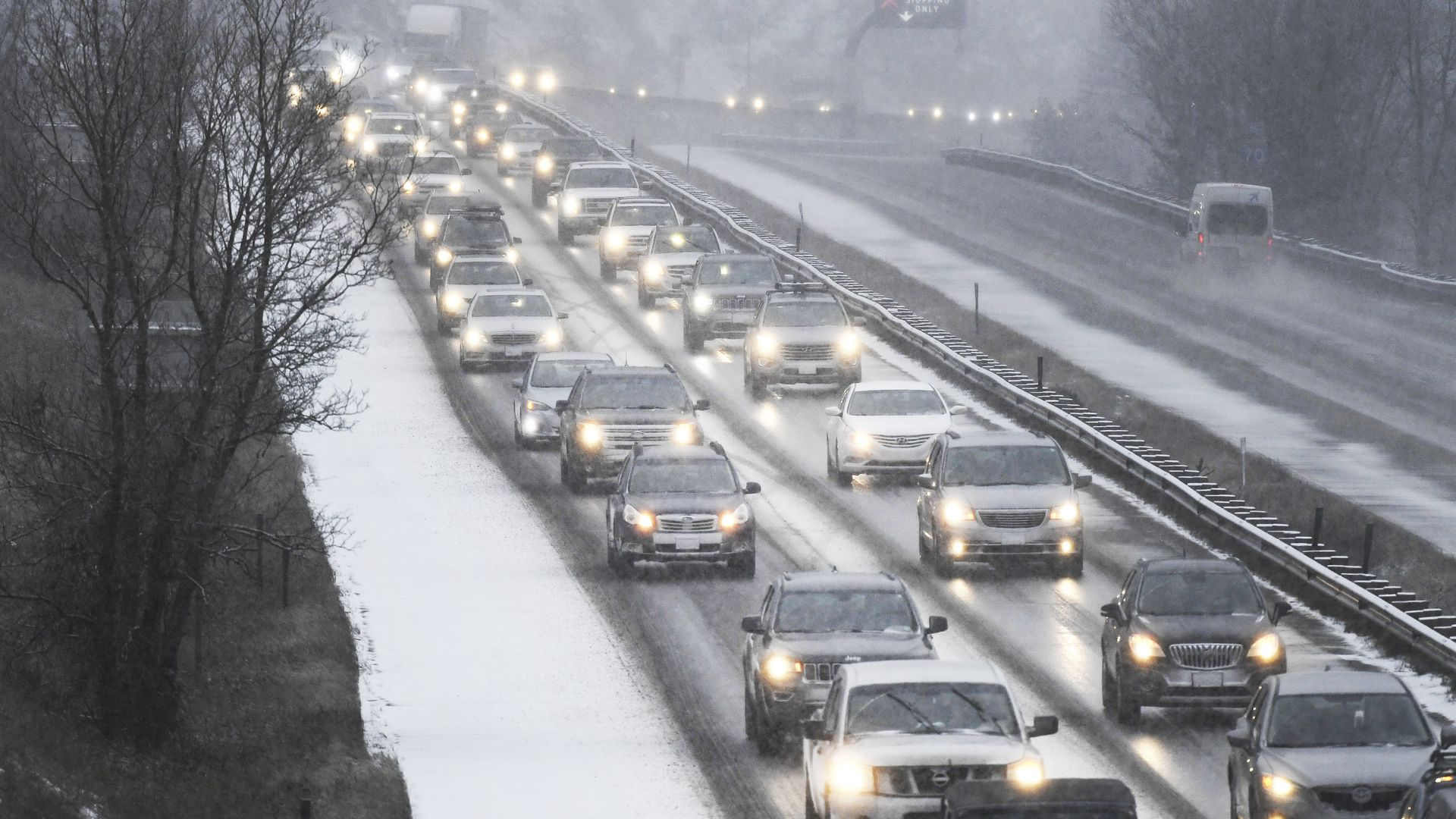 Cars are backed up on Interstate 70 in Colorado.