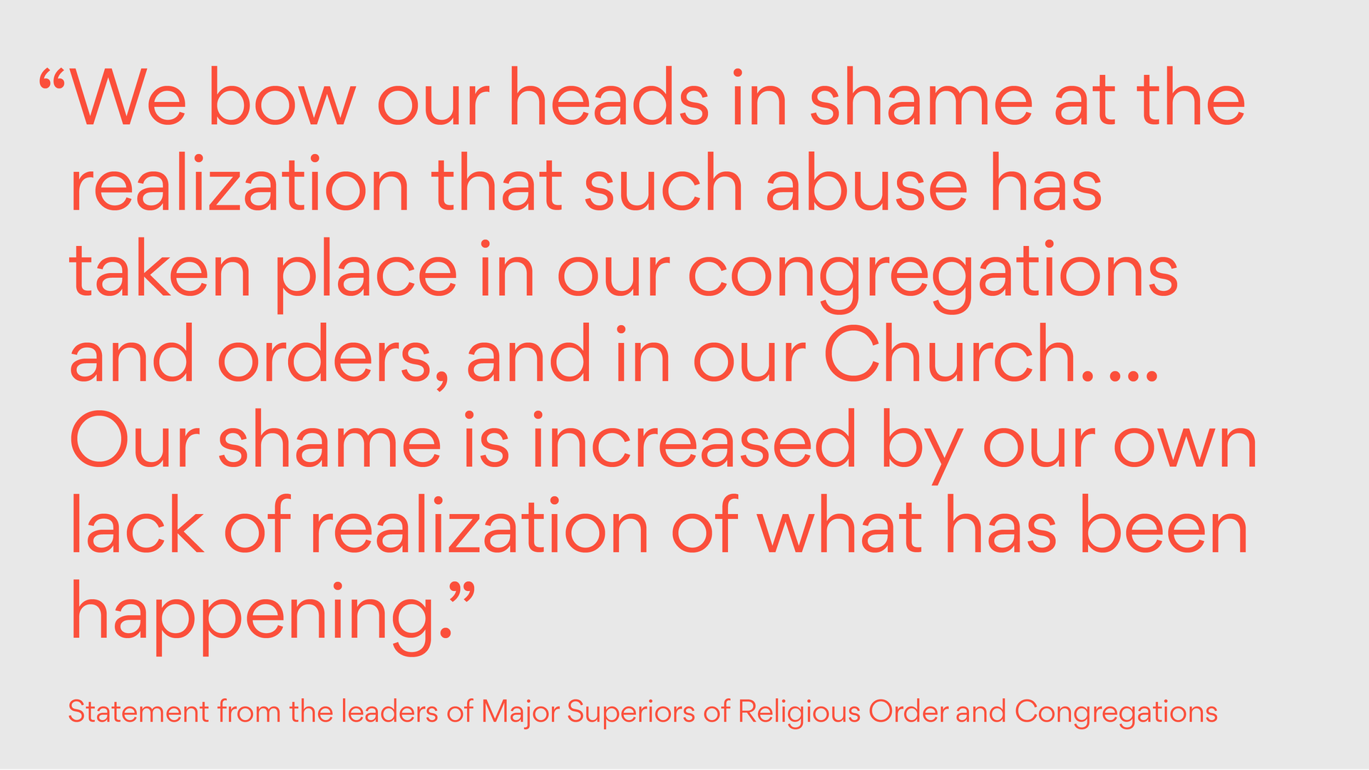 Statement from the leaders of Major Superiors of Religious Order and Congregations