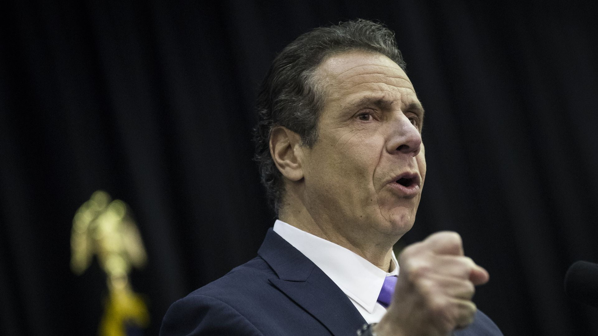 New York Governor Andrew Cuomo speaks during a bill signing event at John Jay College