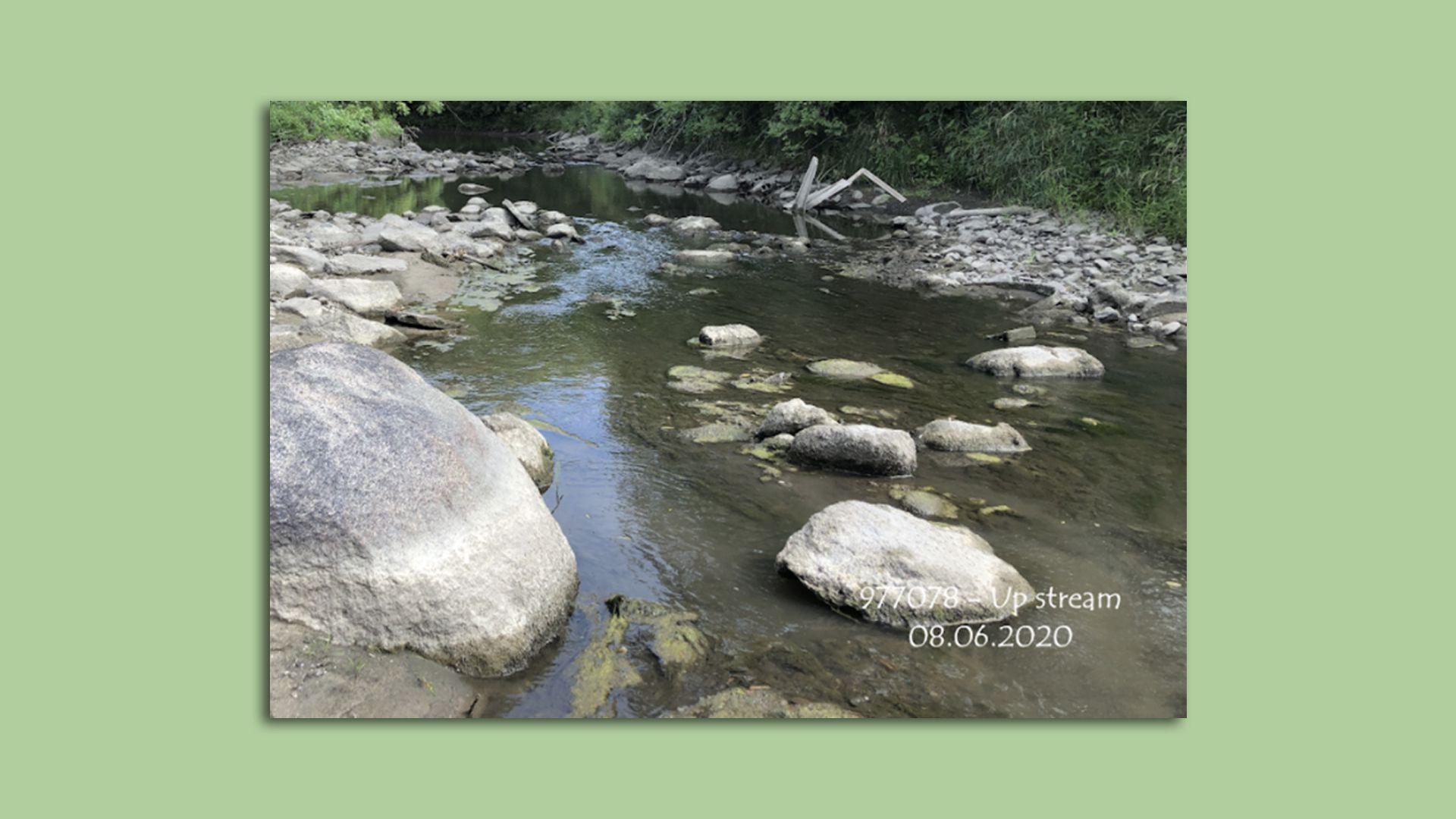 Rocks along Fourmile Creek near Ankeny, Iowa.