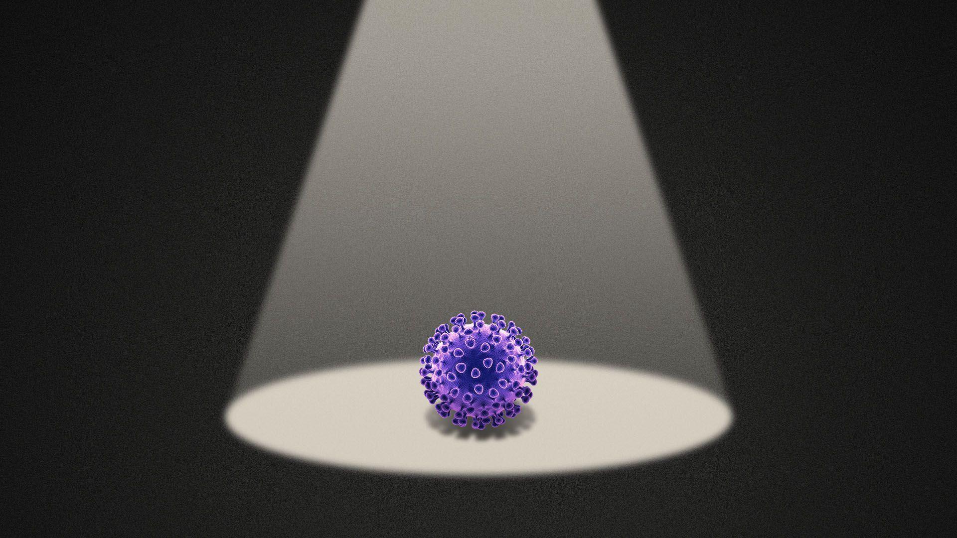 Illustration of a purple coronavirus under a spotlight in the dark