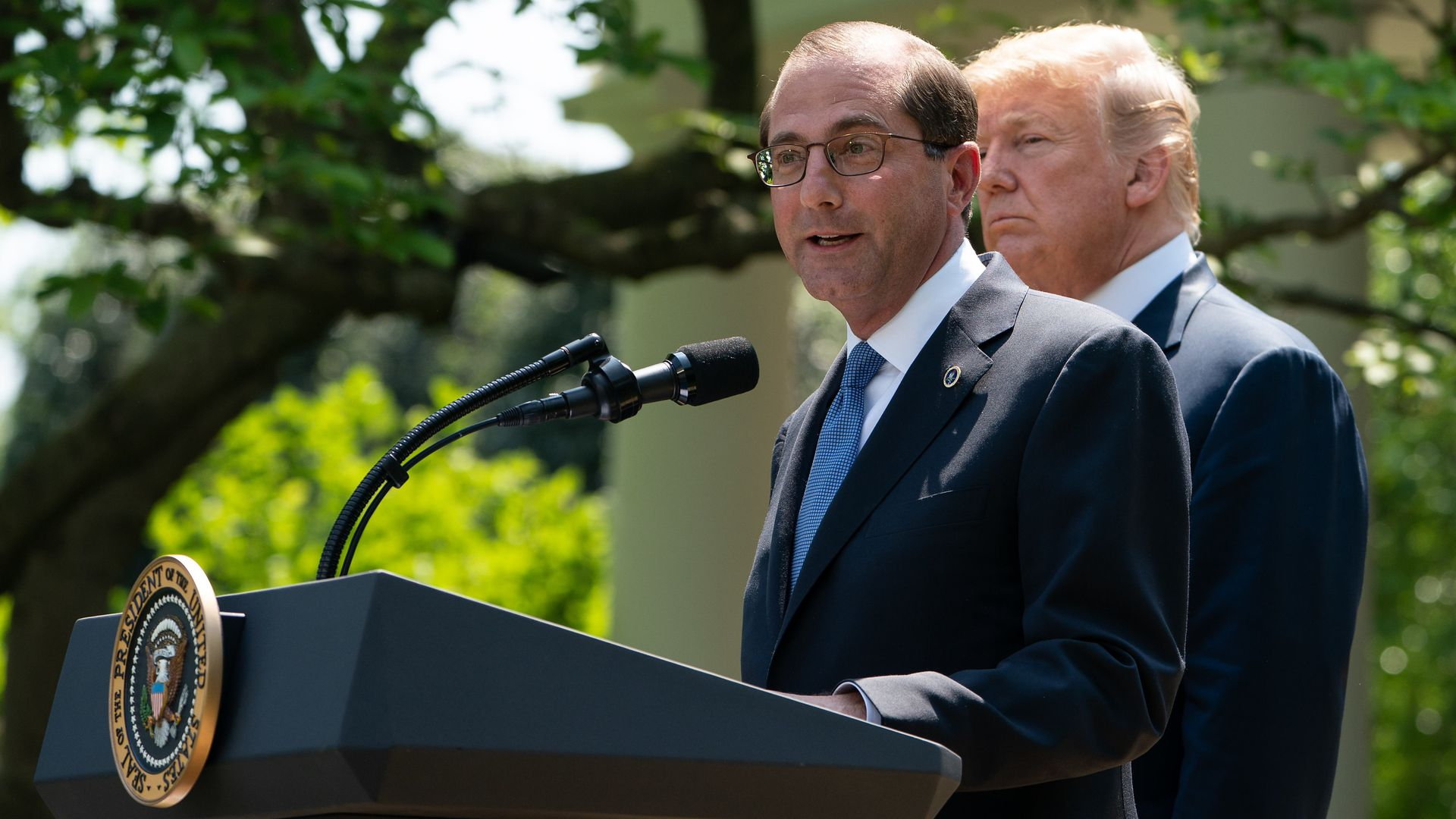 President Trump and HHS secretary Alex Azar