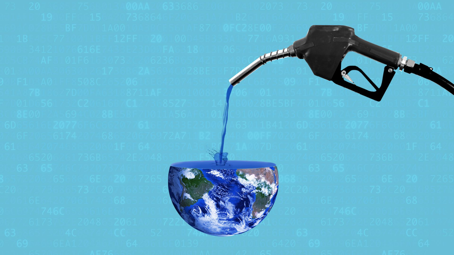 Illustration of a gas nozzle filling up the Earth.