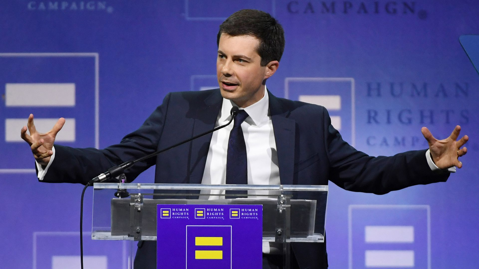 South Bend, Indiana Mayor Pete Buttigieg delivers a keynote address at the Human Rights Campaign's (HRC) 14th annual Las Vegas Gala at Caesars Palace on May 11, 2019 in Las Vegas, Nevada.