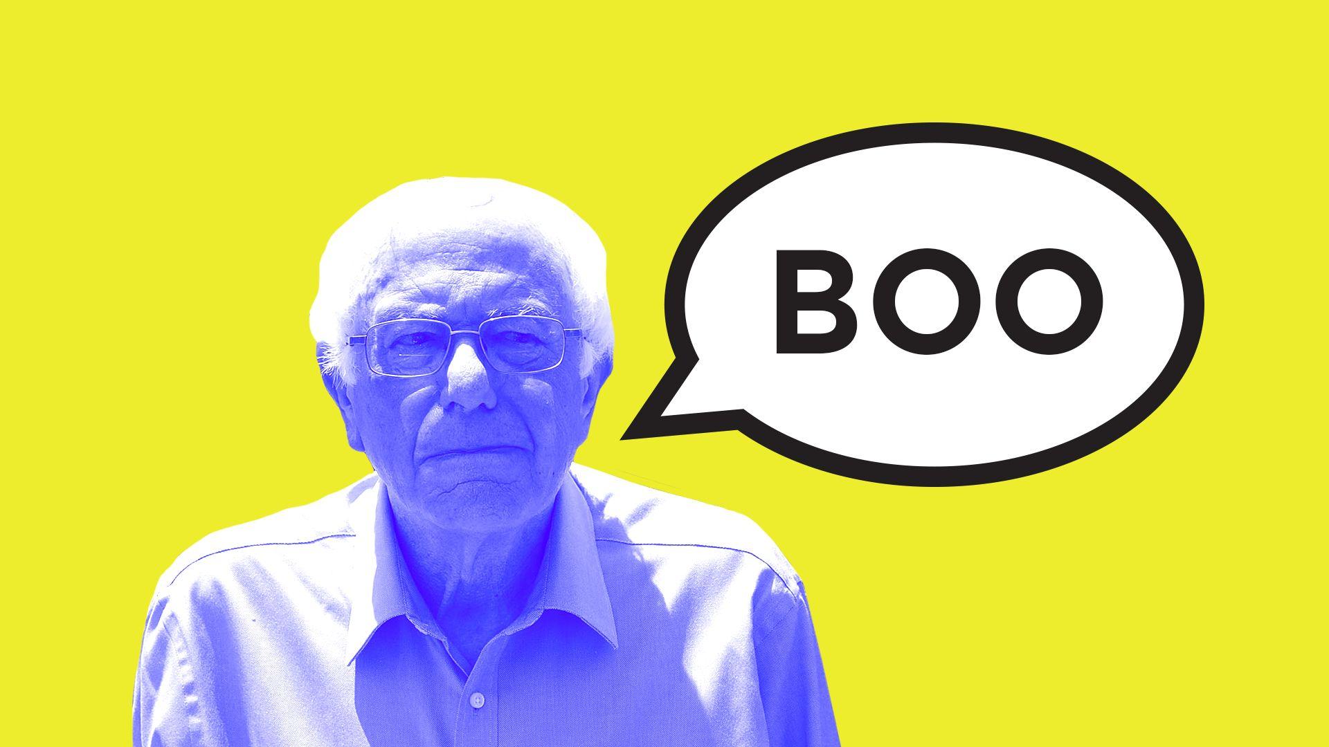 "illustration of Bernie Sanders saying ""Boo"""