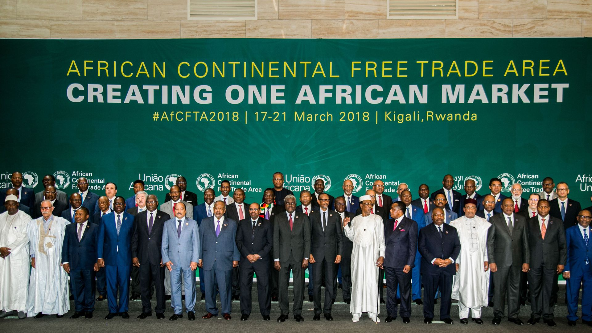 The African Heads of States and Governments pose during African Union (AU) Summit for the agreement to establish the African Continental Free Trade Area in Kigali, Rwanda, on March 21, 2018.