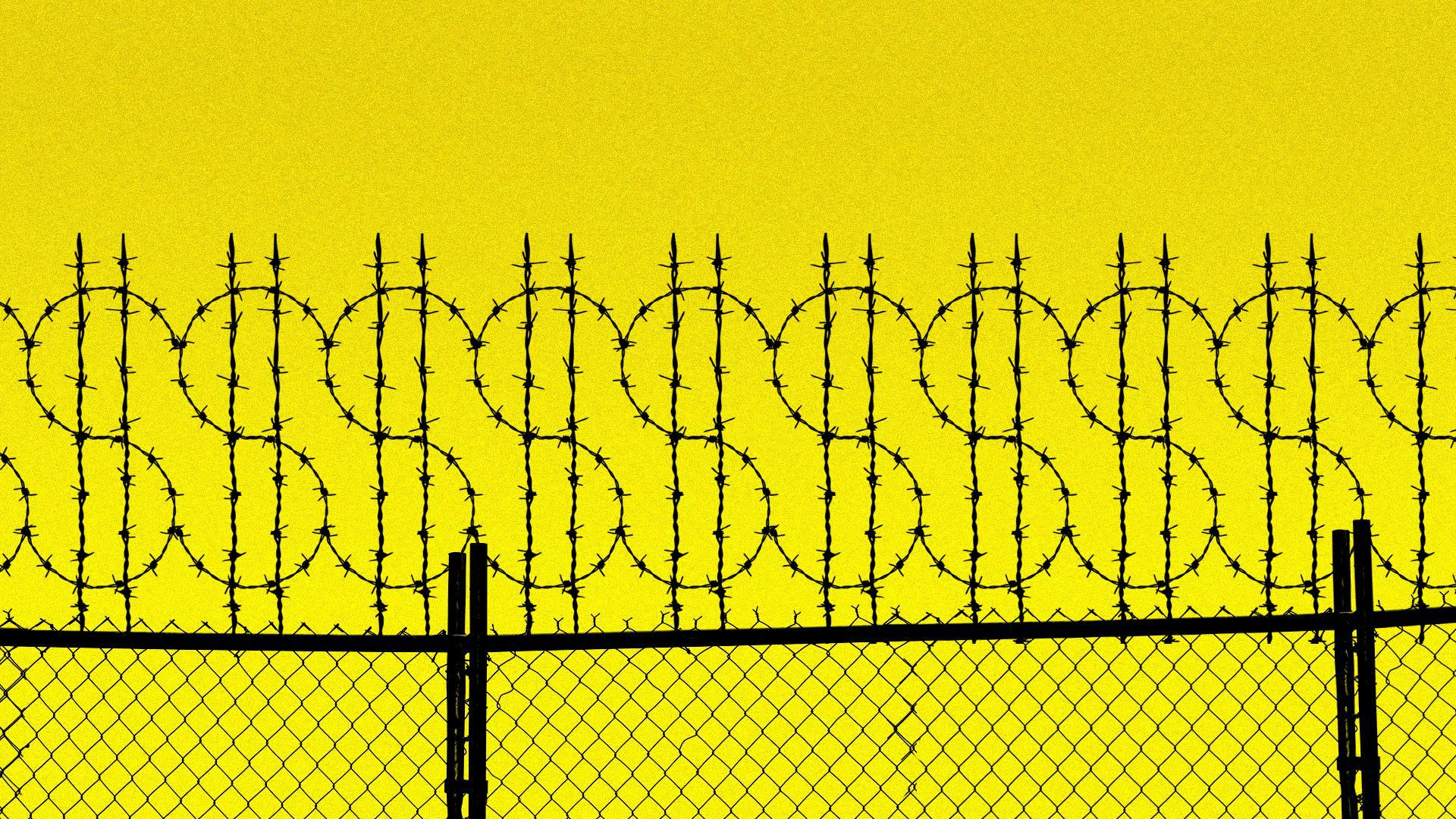 A prison fence with the fence shaped into dollar signs.