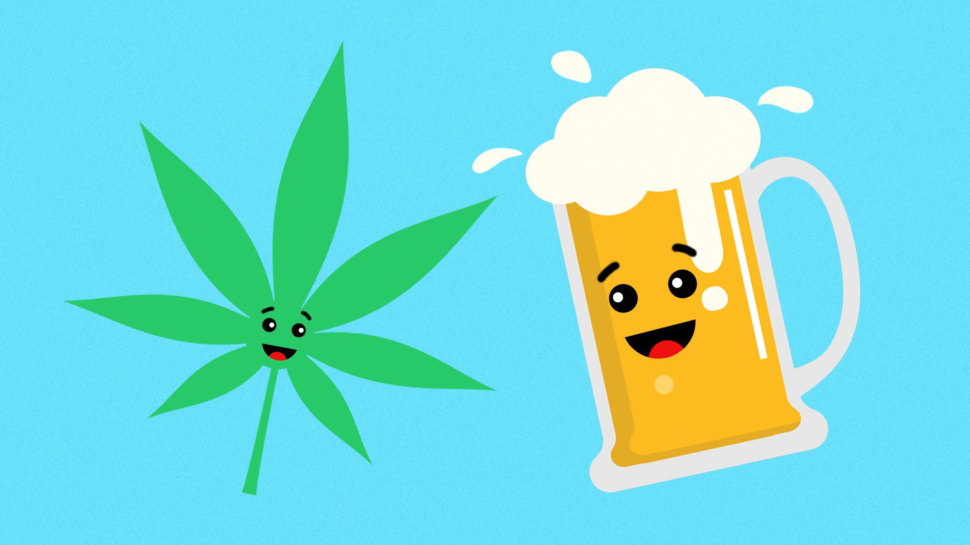Illustration of cannabis and beer emoji smiling at each other.