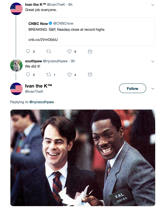 A twitter thread celebrating the S&P 500's latest all-time high.
