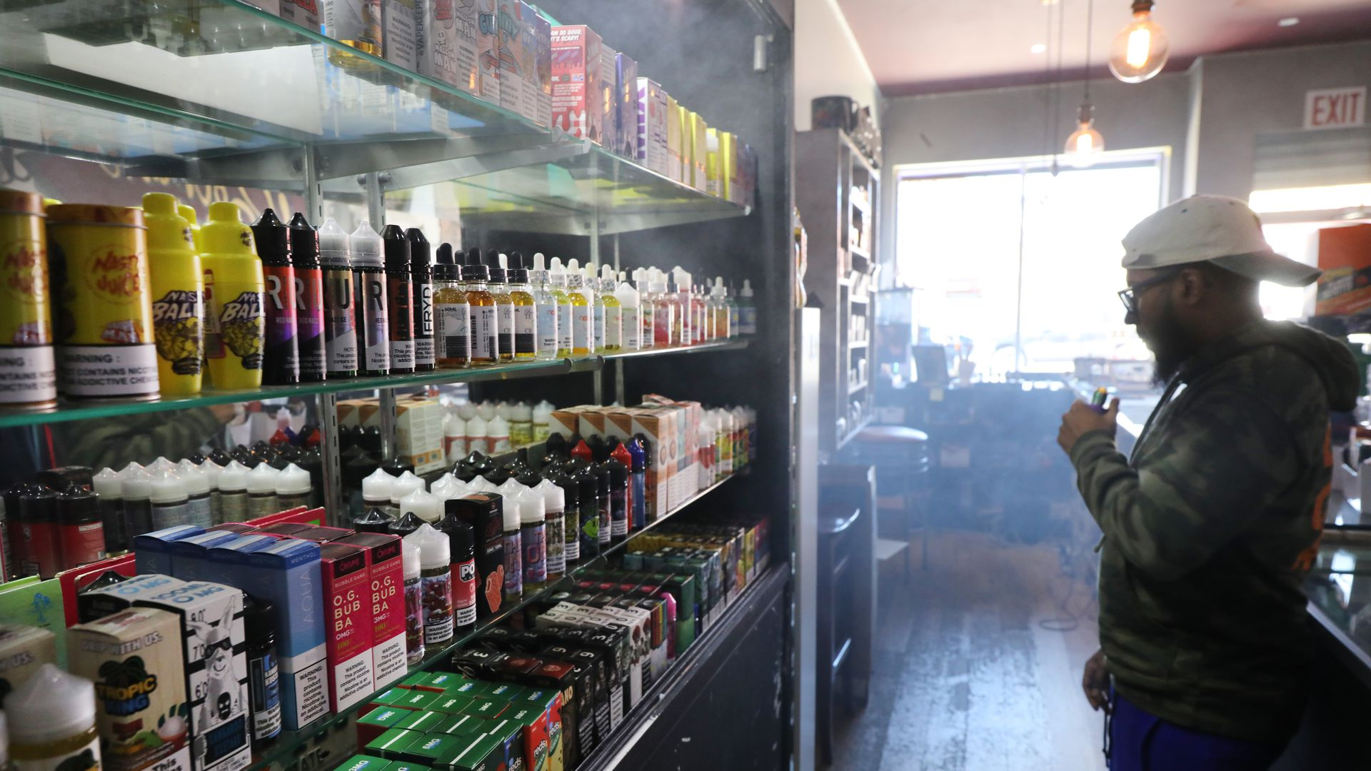 Vaping products, including flavored vape liquids and pods, are displayed at Gotham Vape in Queens, on September 17, 2019 in New York City.