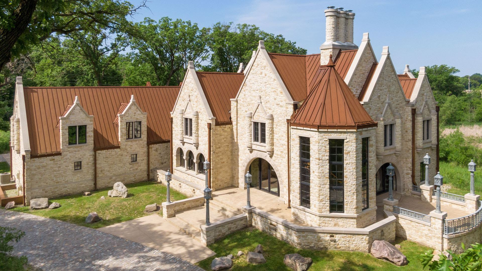 The exterior of a $7.5 million manor for sale in Orono, Minnesota.