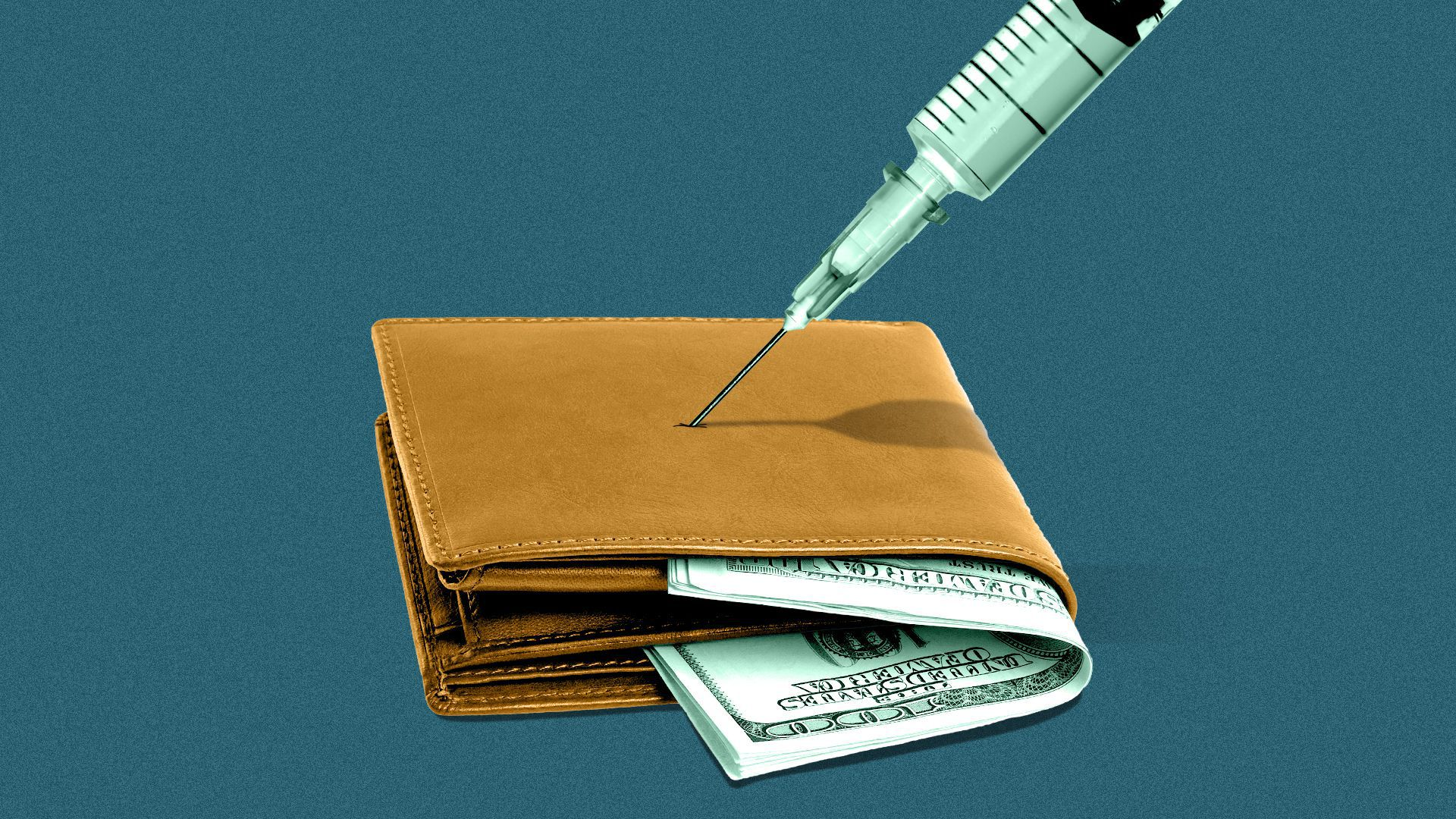 Illustration of a wallet with hundred-dollar bills inside it, and a syringe being stuck into it.
