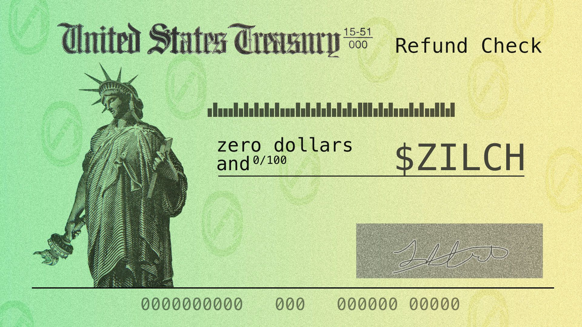 Illustration of United States Treasury check with no money