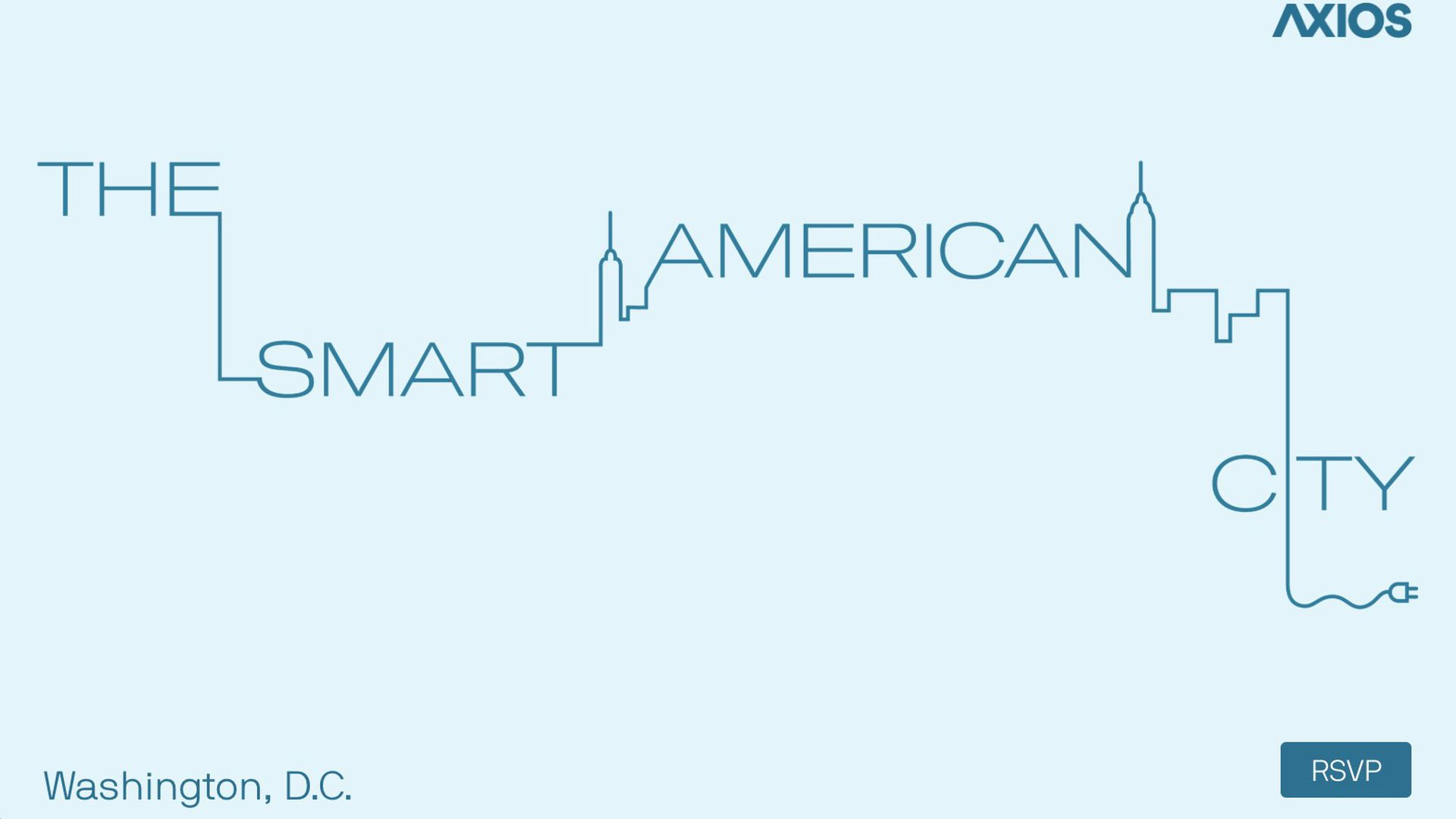 """Outline of a city with the text """"The Smart American City"""""""
