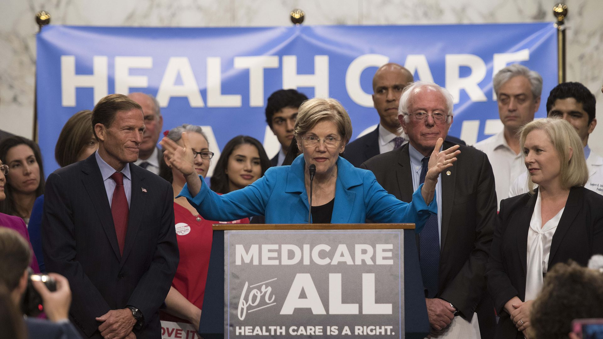 Sen. Elizabeth Warren at the event where a lot of Democrats endorsed Sen. Bernie Sanders' single-payer bill.