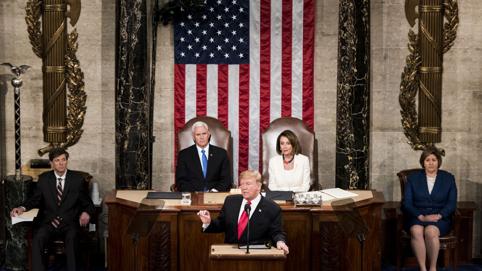 Donald Trump, Nancy Pelosi and Mike Pence at the 2019 State of the Union.