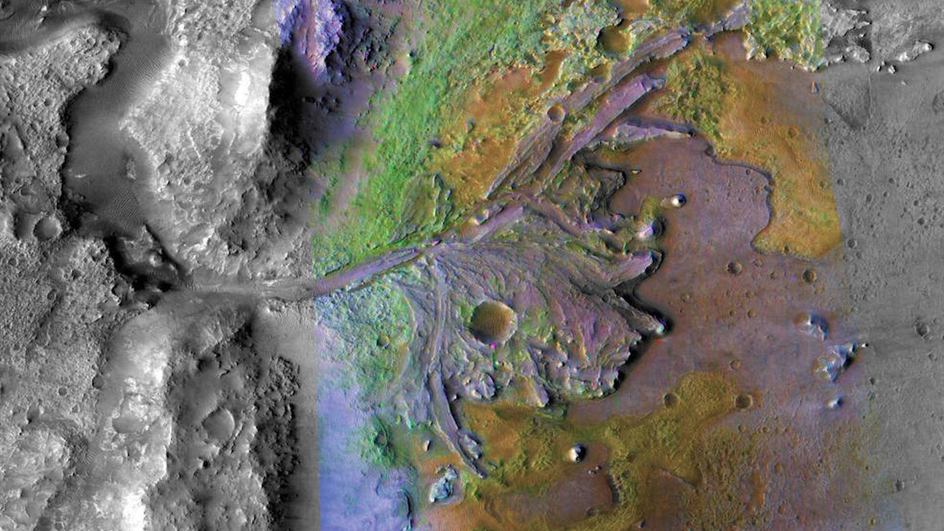 Jezero Crater on Mars, which is the new destination for NASA's next Mars rover.