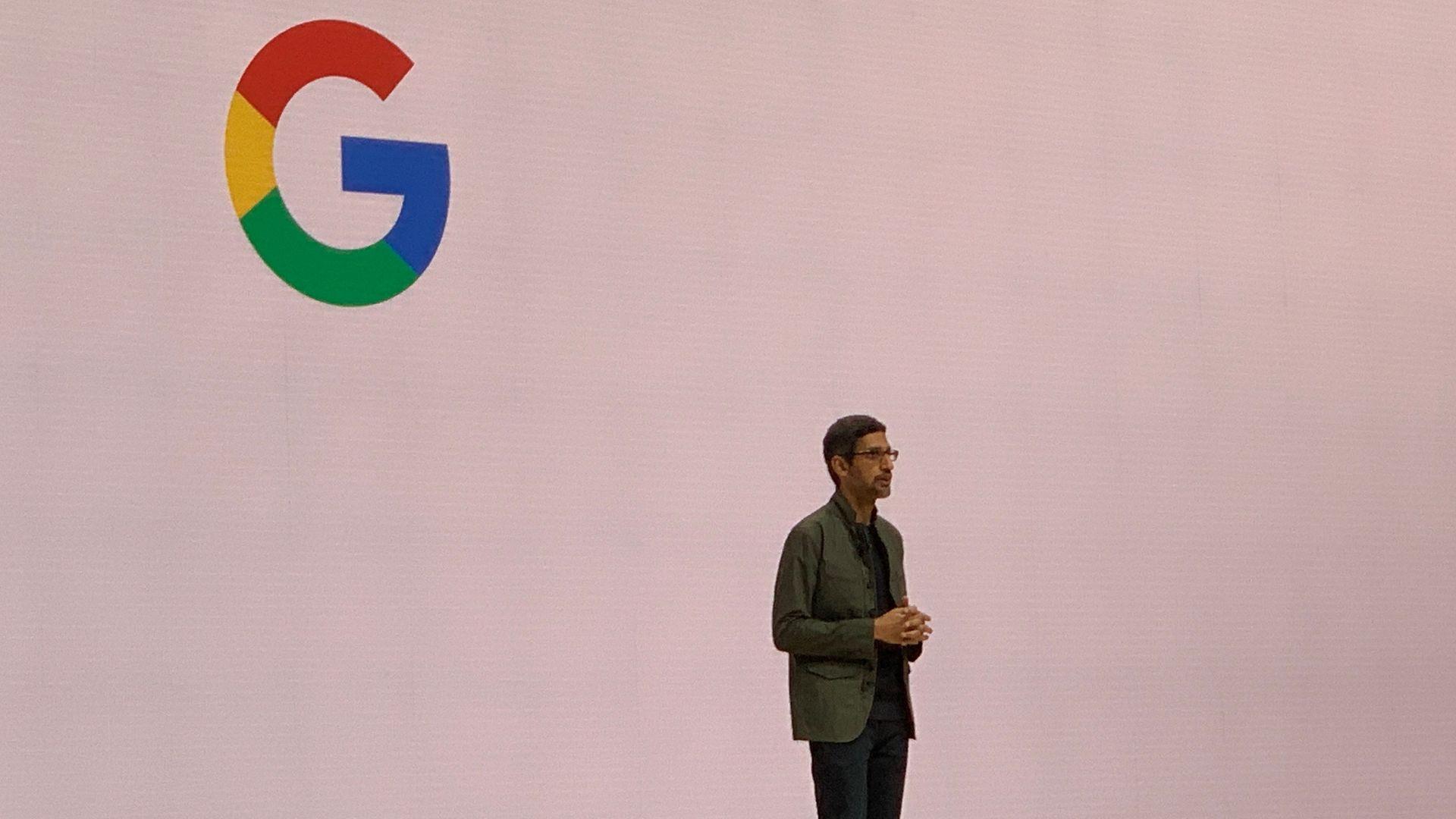 Google CEO Sundar Pichai, speaking at GDC 2019.