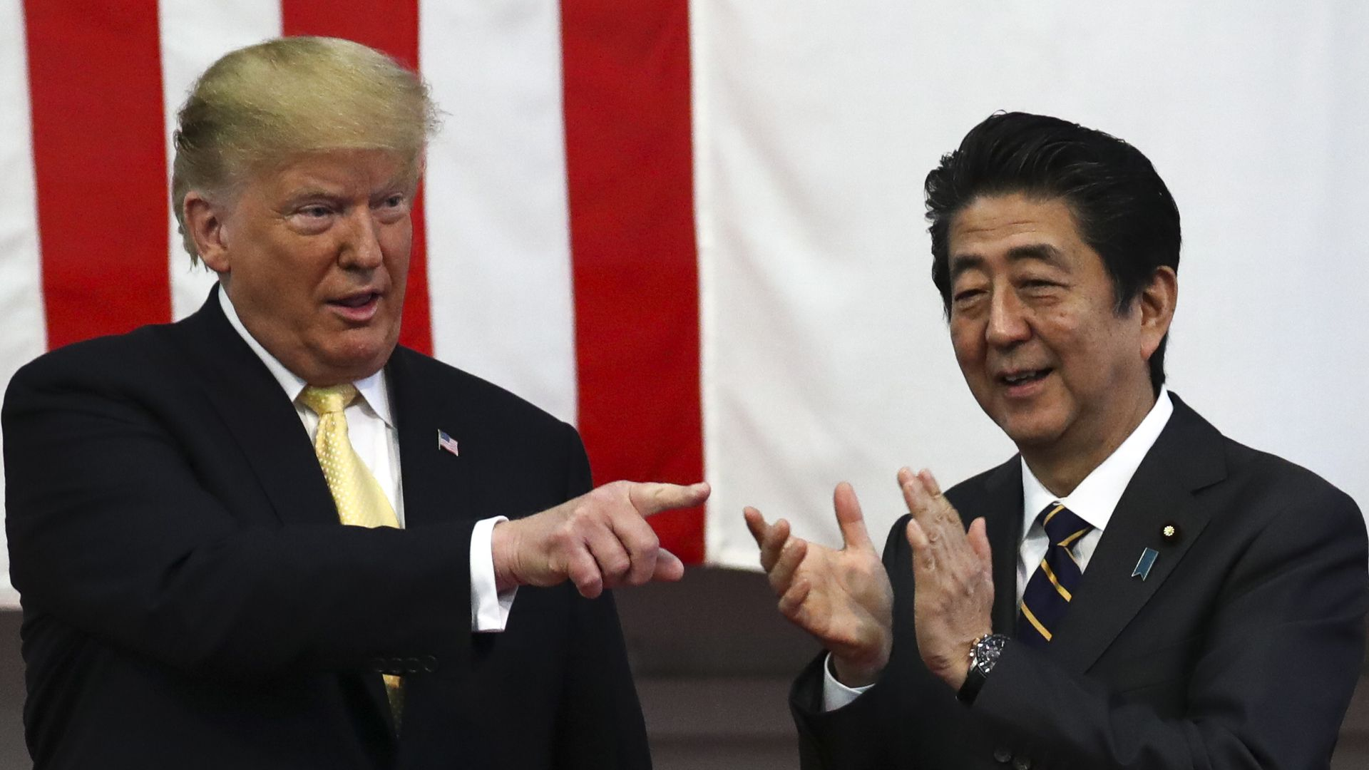 Donald Trump and Shinzo Abe standing side by side