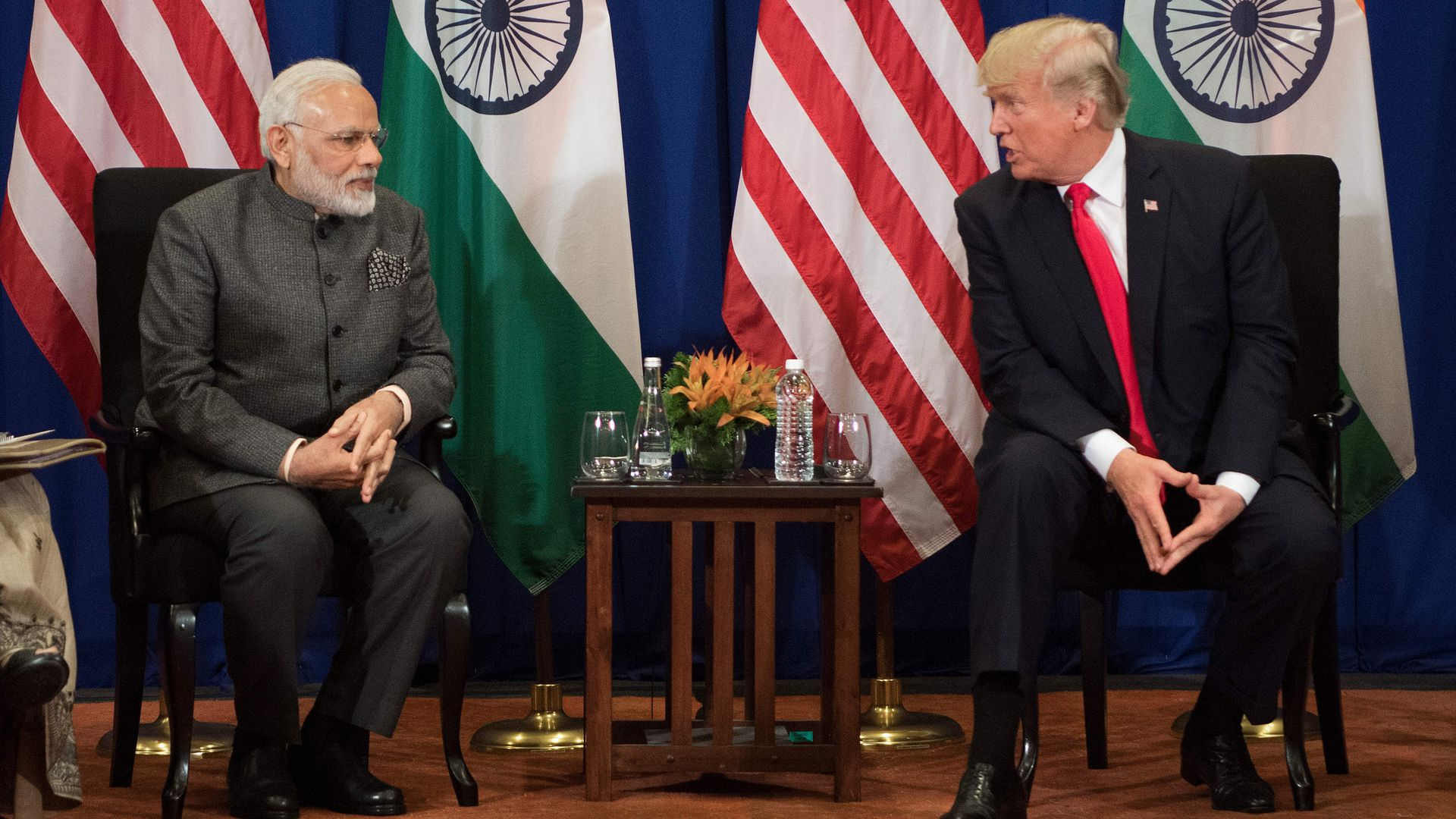 President Trump speaks with Indian Prime Minister Modi during a bilateral meeting on the sideline of the 31st Association of Southeast Asian Nations (ASEAN) Summit in Manila on November 13, 2017.