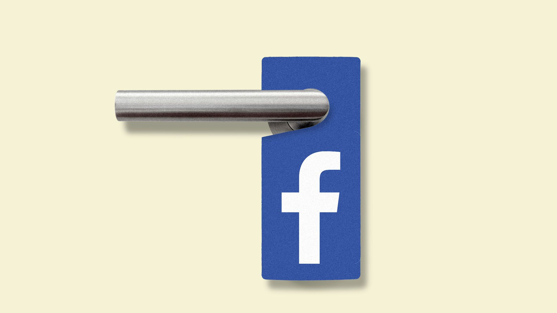 "This illustration shows a ""Do not disturb sign"" hanging on a door handle, except the sign only has the Facebook logo."