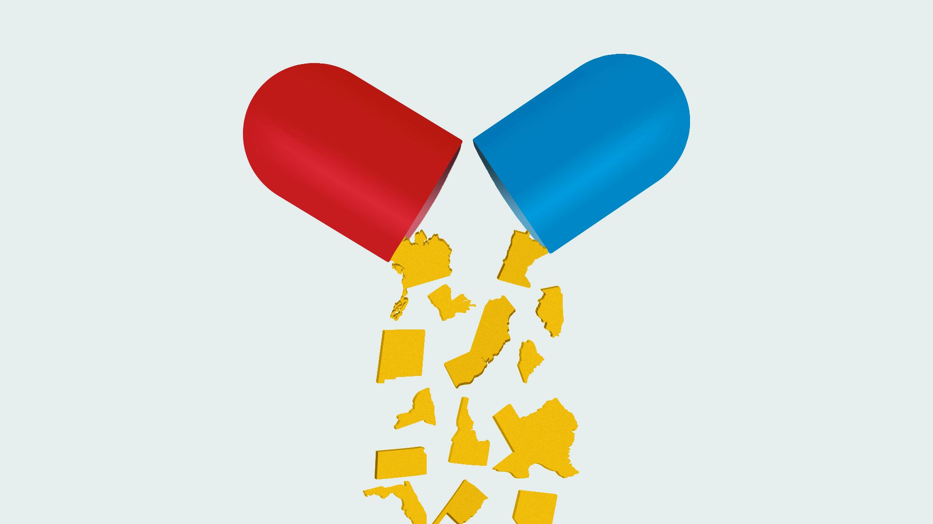 Illustration of a pills capsule opening with state-shaped pills falling out.