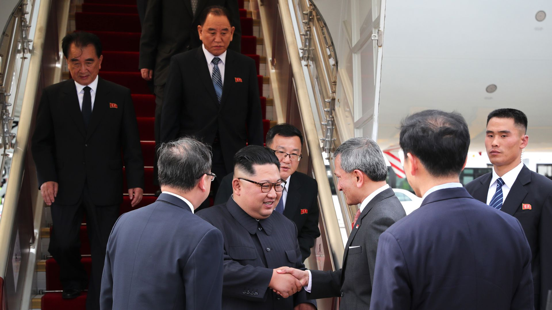 North Korean leader Kim Jong-un welcomed as he arrives in Singapore.