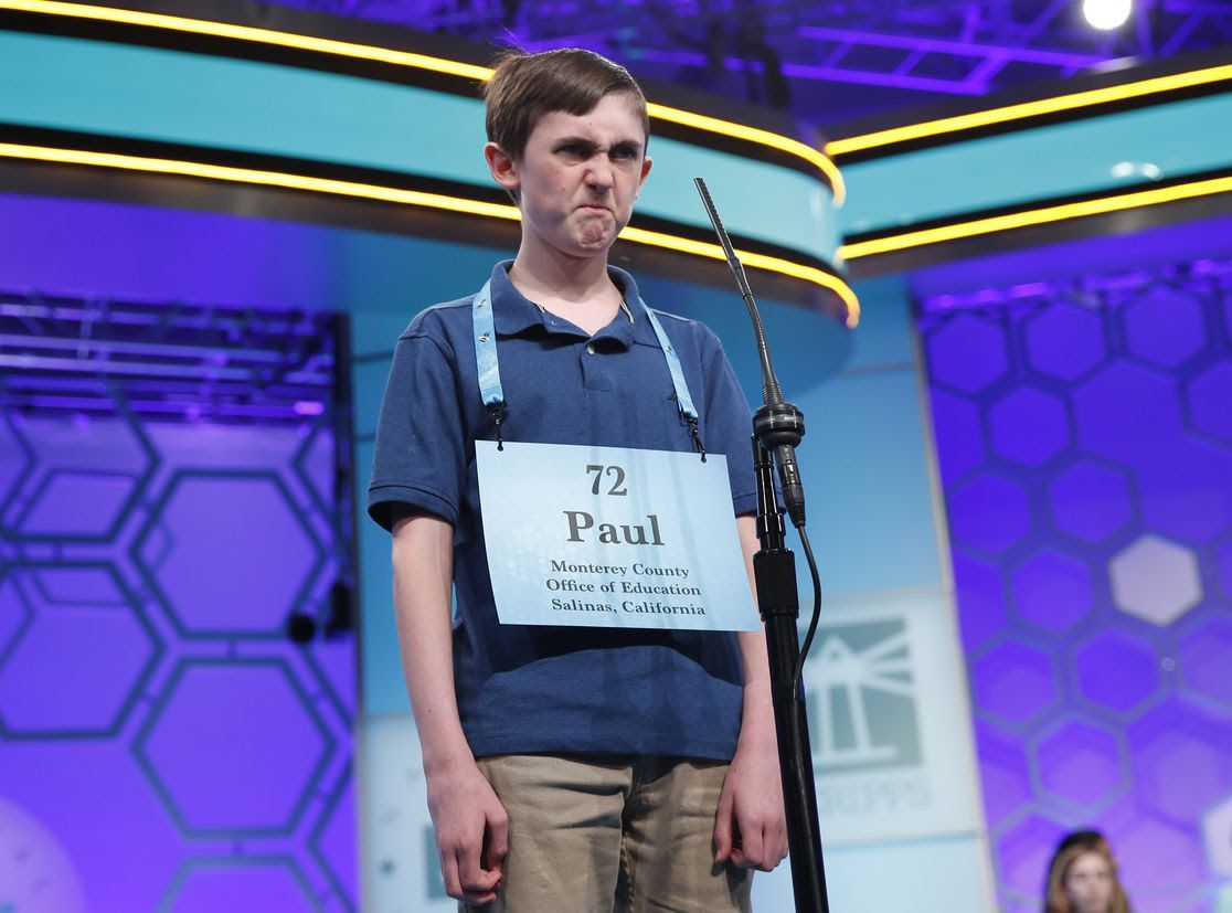 Paul Hamrick, 14, frowns on stage